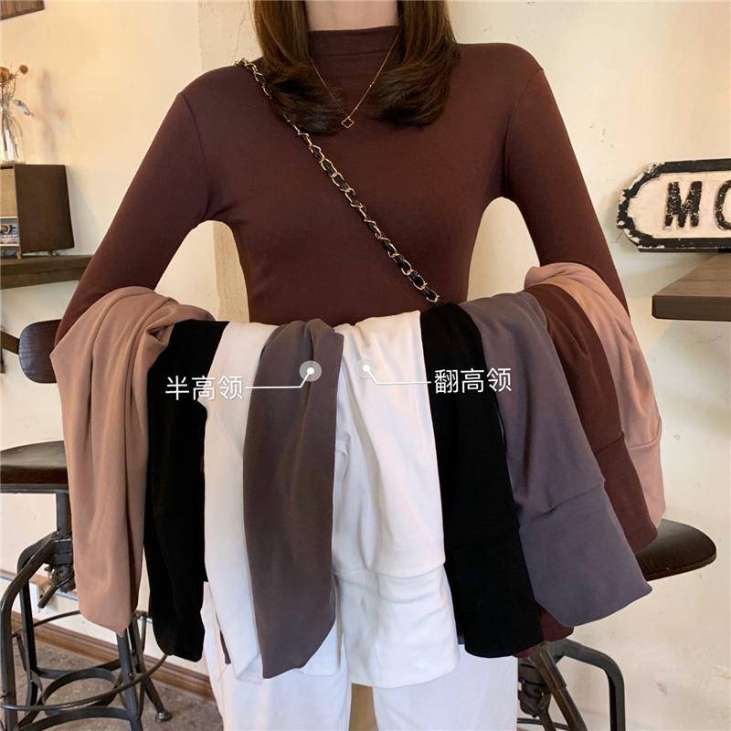 实拍实价 内搭上衣轻熟韩版百搭心机堆堆领打底衫高领长袖T恤女