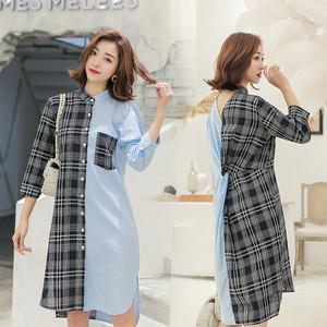 2021實拍 格子拼接純色襯衣裙女韓版中袖修身長款開衫