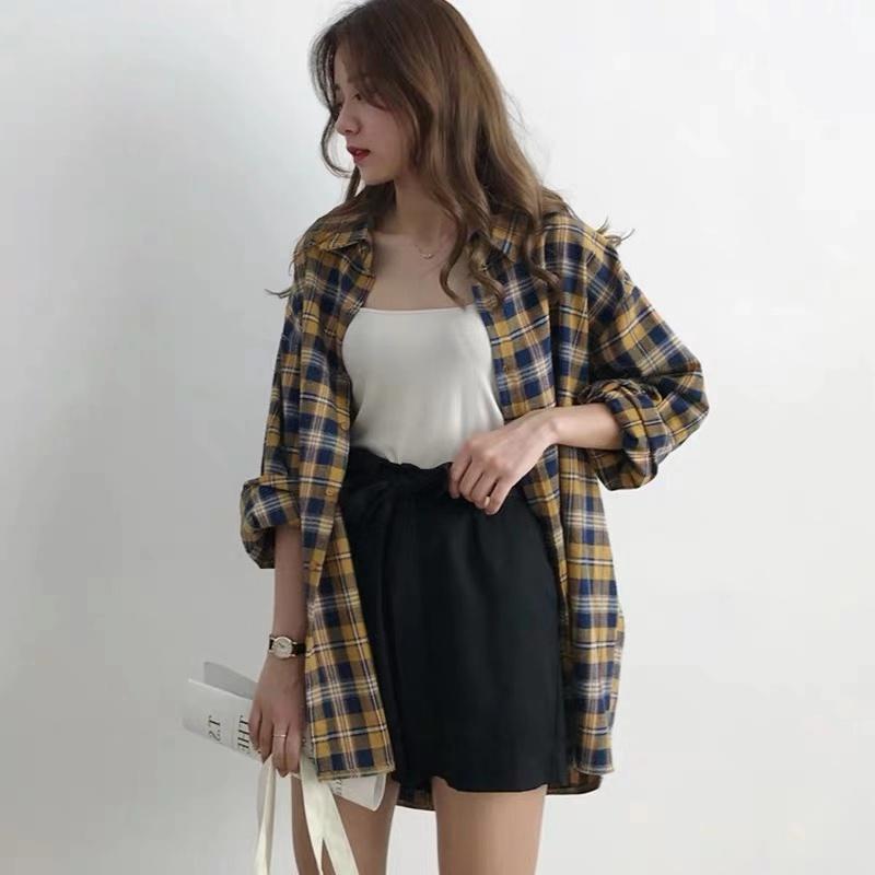 格子磨毛衬衫女2020春季韩版新款复古港味打底内搭长袖上衣