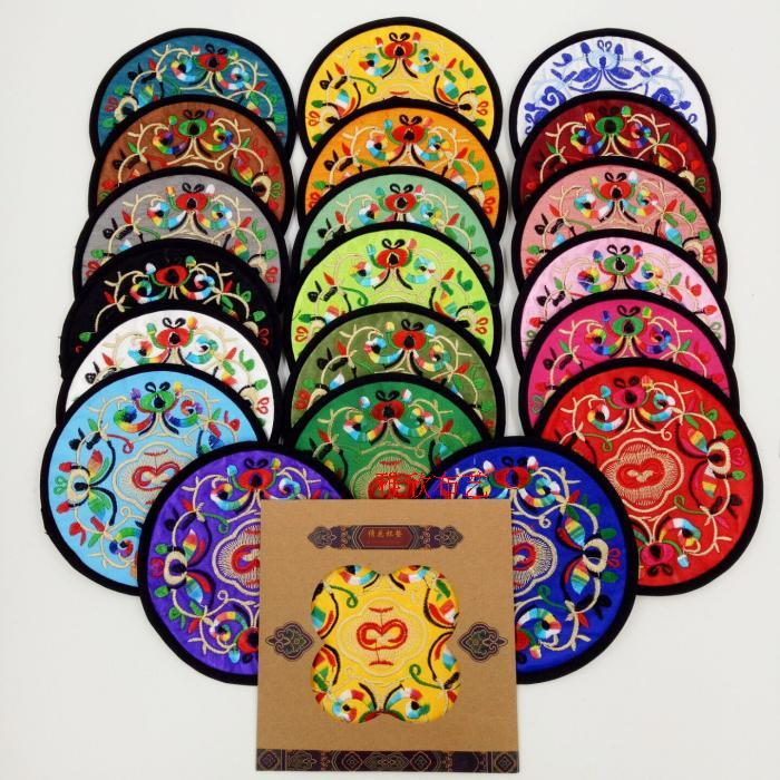Китайский стиль шелк вышивка ваза цветов подушка изоляция чашка подушка юньнань ветер вышитый обеденный стол подушка ремесла товаров, пересылаемых старый иностранных