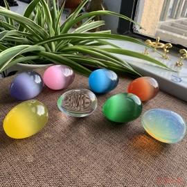 猫眼石水晶鸡蛋把玩 猫眼石把玩摆件彩色鸡蛋形石头 厂家直销图片