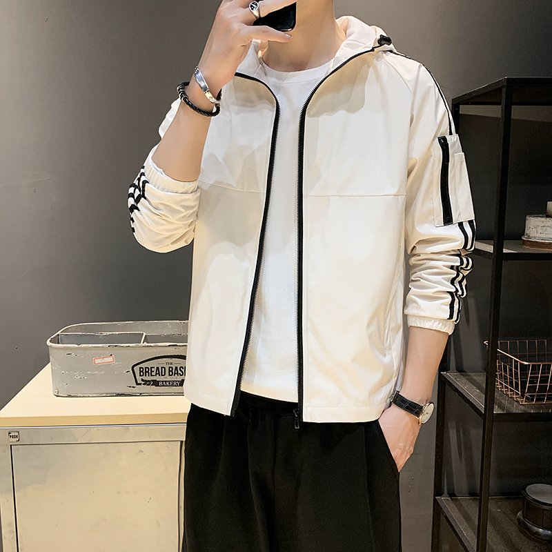 Sportswear jacket mens hooded windbreaker autumn new 2020 running windproof trend three bar top