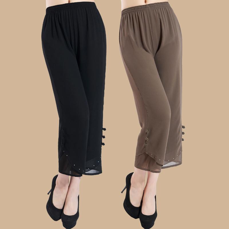 中老年女装夏装九分裤女妈妈装裤子大码宽松雪纺裤高腰松紧阔腿裤