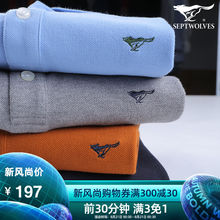Seven Wolf Long Sleeve T-shirts Men Spring and Autumn 2019 New Father's Pure Cotton Middle-aged Loose Collar Polo Shirt