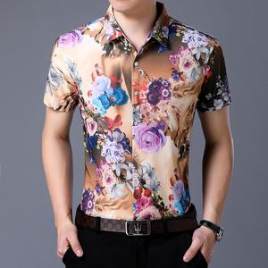 男士夏季新款短袖宽松冰丝花花衬衫