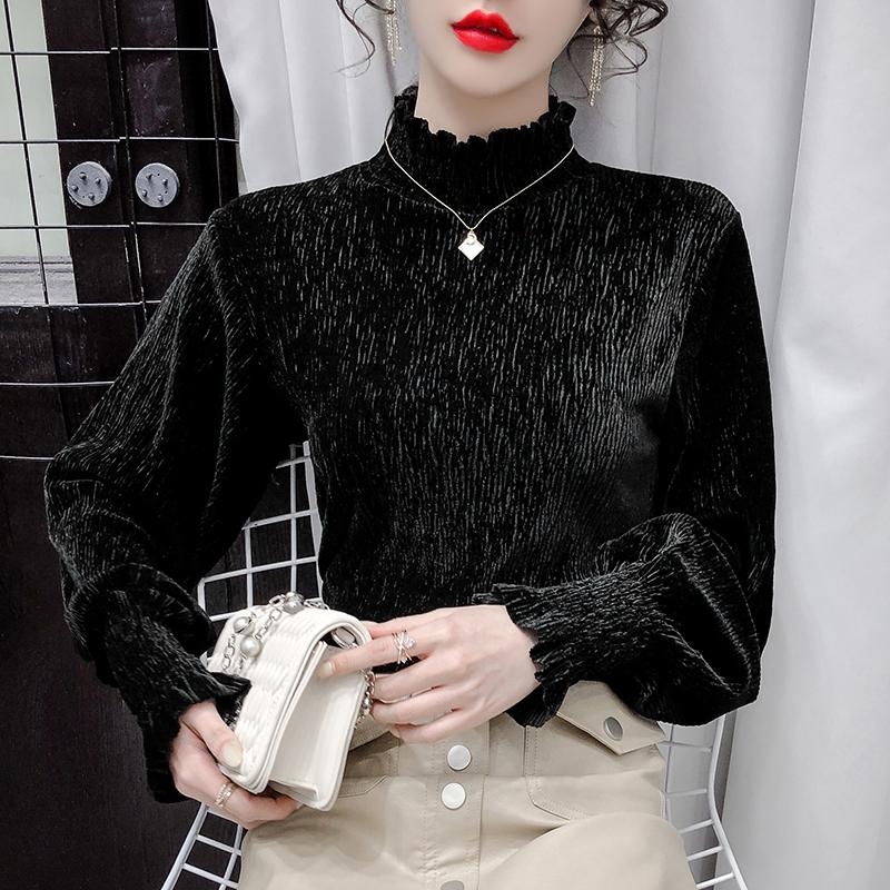 实拍     遮肚子打底衫女秋冬内搭金丝绒半高领显瘦上衣洋气T恤潮