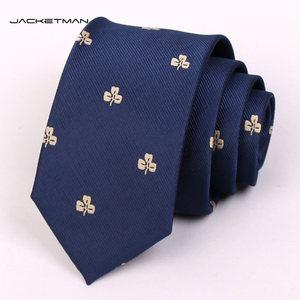 Jacketman领带男士正装商务韩版7cm藏青色三叶草窄款领带英伦礼盒