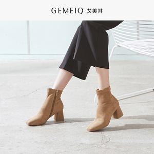 戈美其2018冬季新款时尚侧拉链方头短筒靴子女粗跟高跟优雅时装鞋