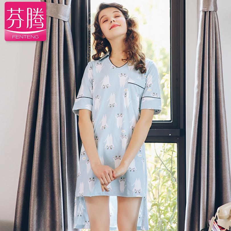芬腾2018新款短袖睡衣女夏可爱猫咪纯棉短裙可外穿家居服少女睡裙