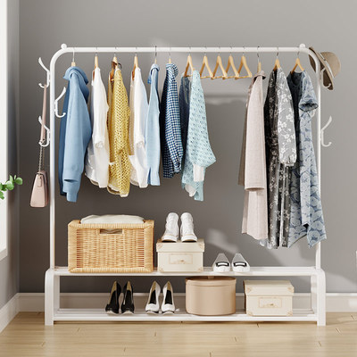 Clothes rack floor hanger folding dormitory indoor bedroom student drying rack household cool clothes pole shelf