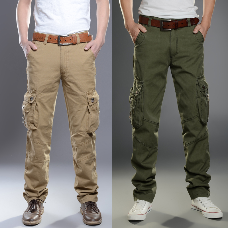 Spring and summer thin straight tube slim fit Multi Pocket outdoor work clothes mens pants youth mens wear plus size casual pants