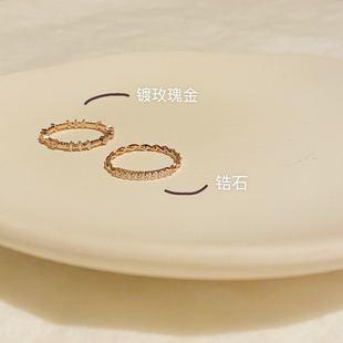 期待已久!巨显白ins小众设计轻奢玫瑰金简约戒指女精致指环法式潮