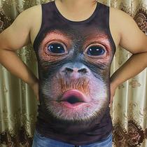 搞笑大猩猩背心男夏季个性恶搞3D动物猴子短t恤大码衣服无袖马甲