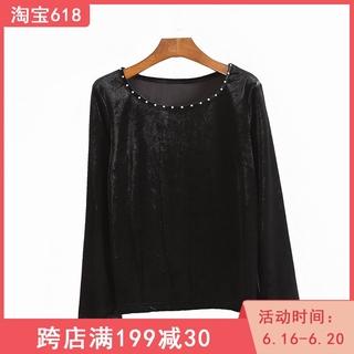 外贸日单2020女装秋季新款圆领长袖上衣百搭金丝绒打底衫T恤B-5
