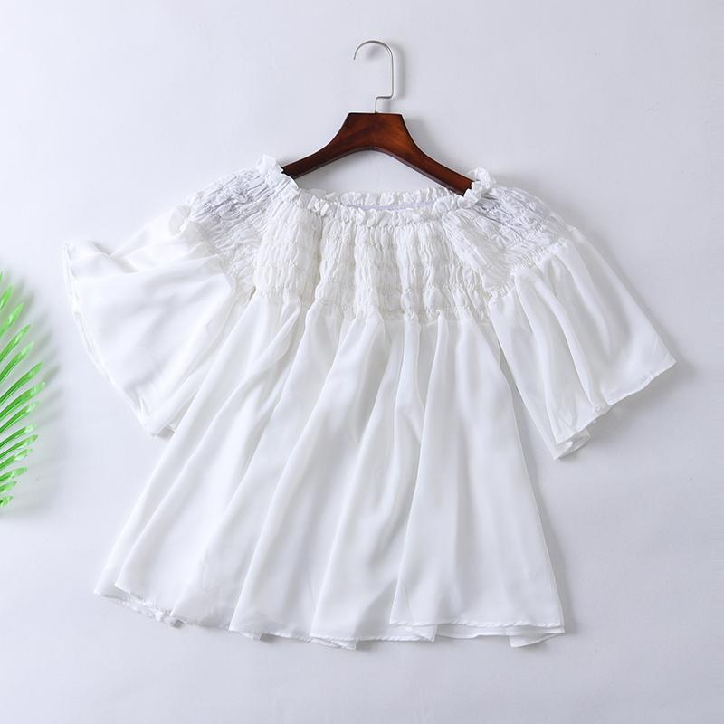 包邮2019新款夏季女装T恤一字肩木耳边荷叶袖短袖白色衬衫上衣C2