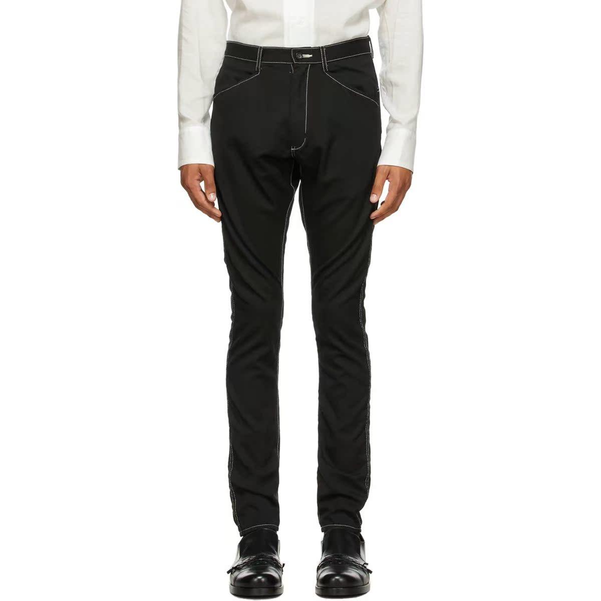代购sulvam 黑色 Chain Stitch Slim 羊毛长裤男2021新款奢侈品