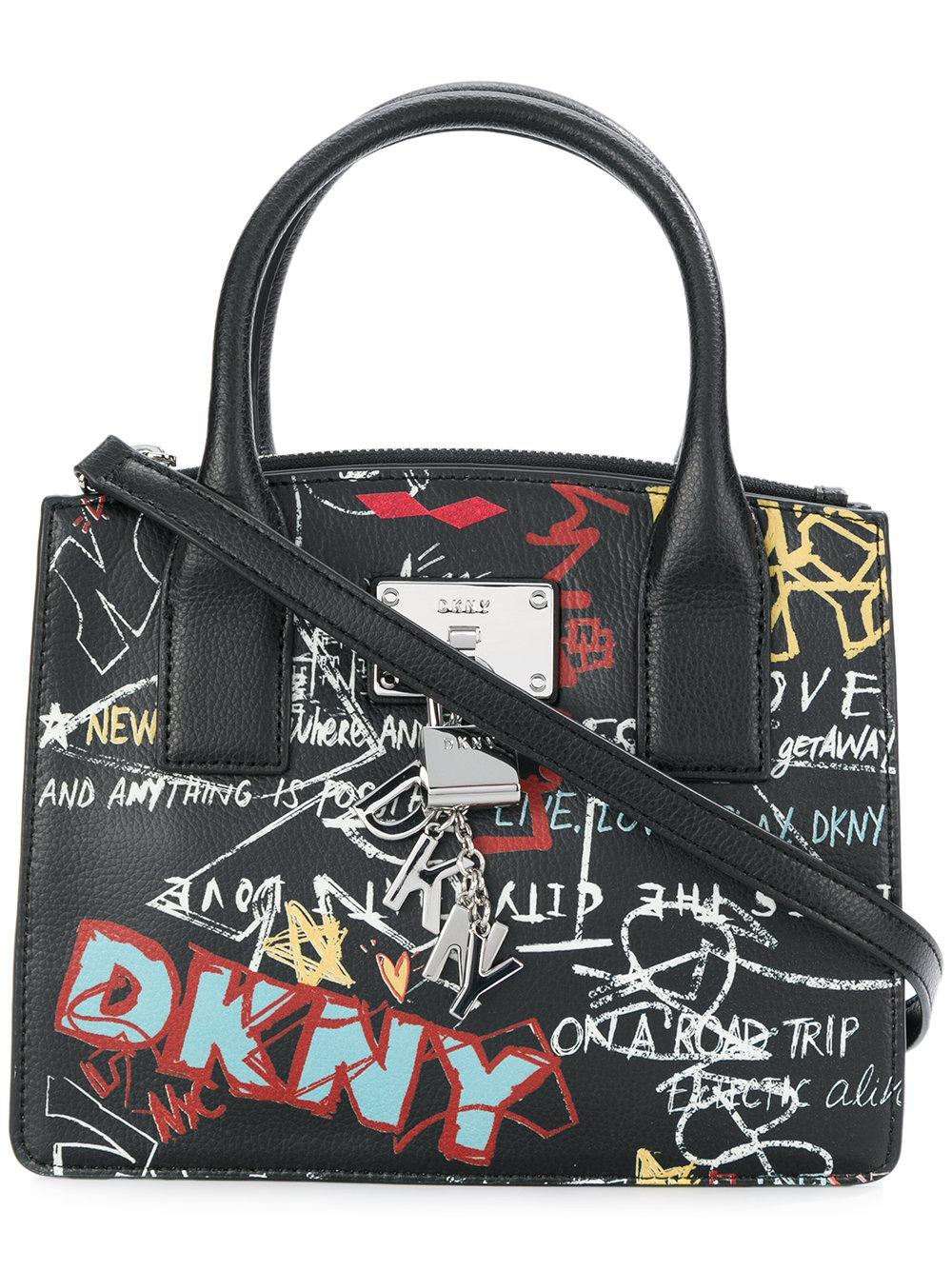 包税代购2018 Donna Karan唐娜・凯伦 女士 小号涂鸦手提包