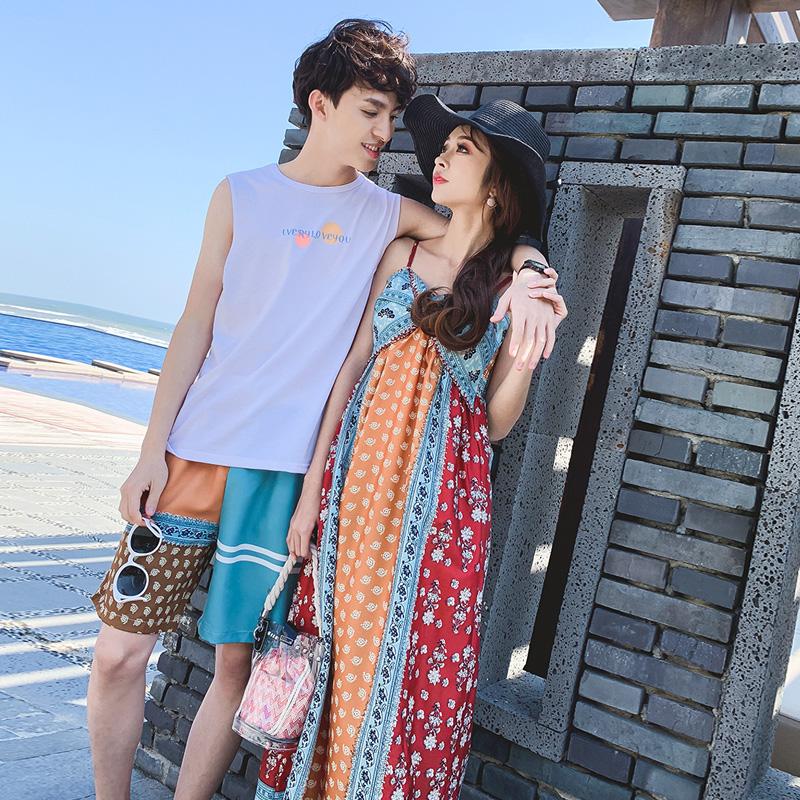 11月07日最新优惠夏季情侣装三亚泰国旅游海岛拍照衣服海边沙滩裙子蜜月度假套装男
