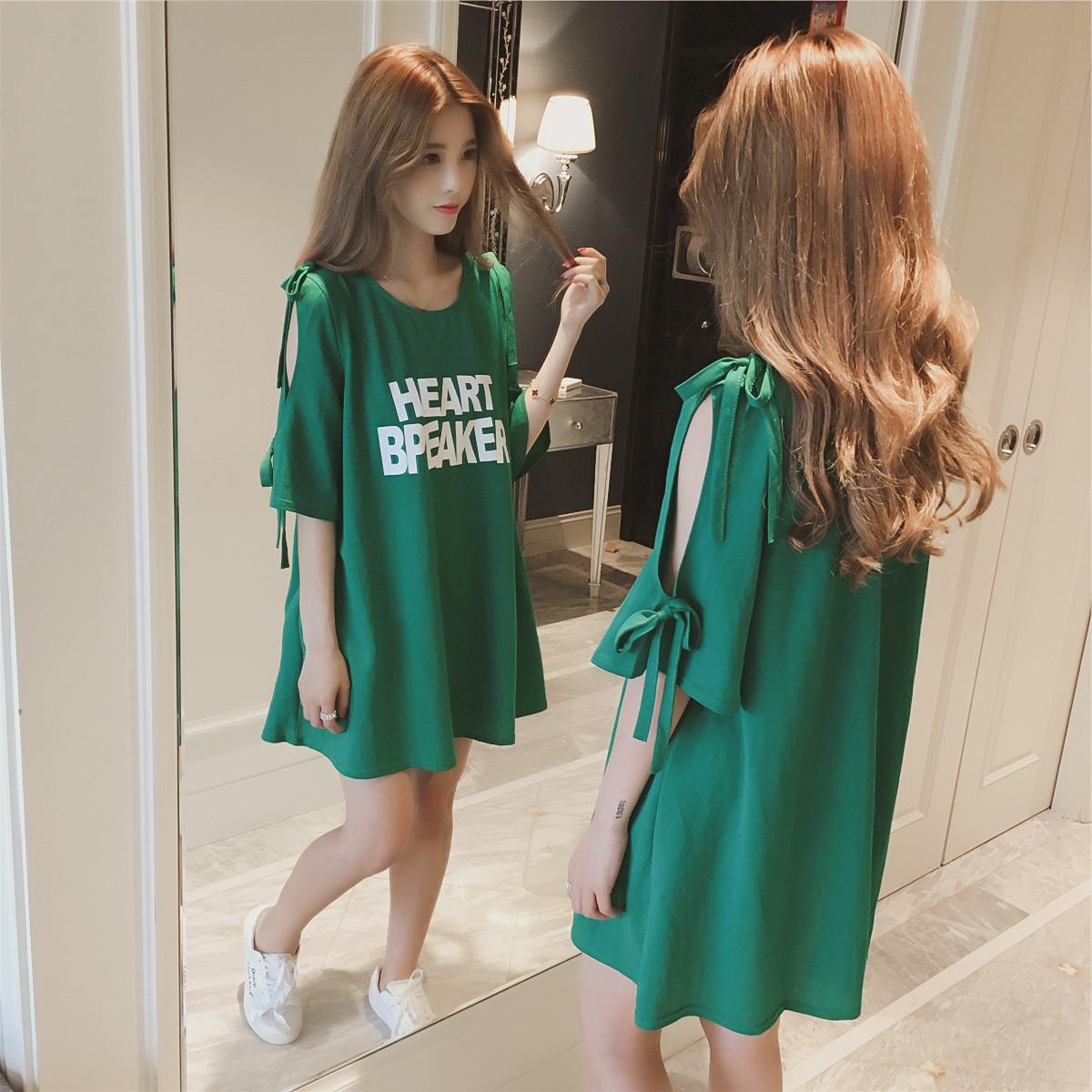 2018夏季露肩长款T恤连衣裙 胖mm欧美大码女装一件代发连衣裙k384