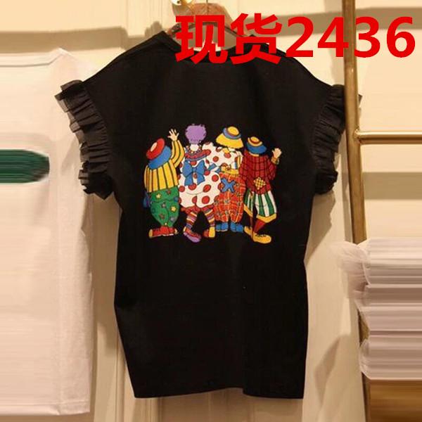 卡通印花木耳边短袖T恤女夏装新款韩版宽松休闲打底衫半袖上衣服