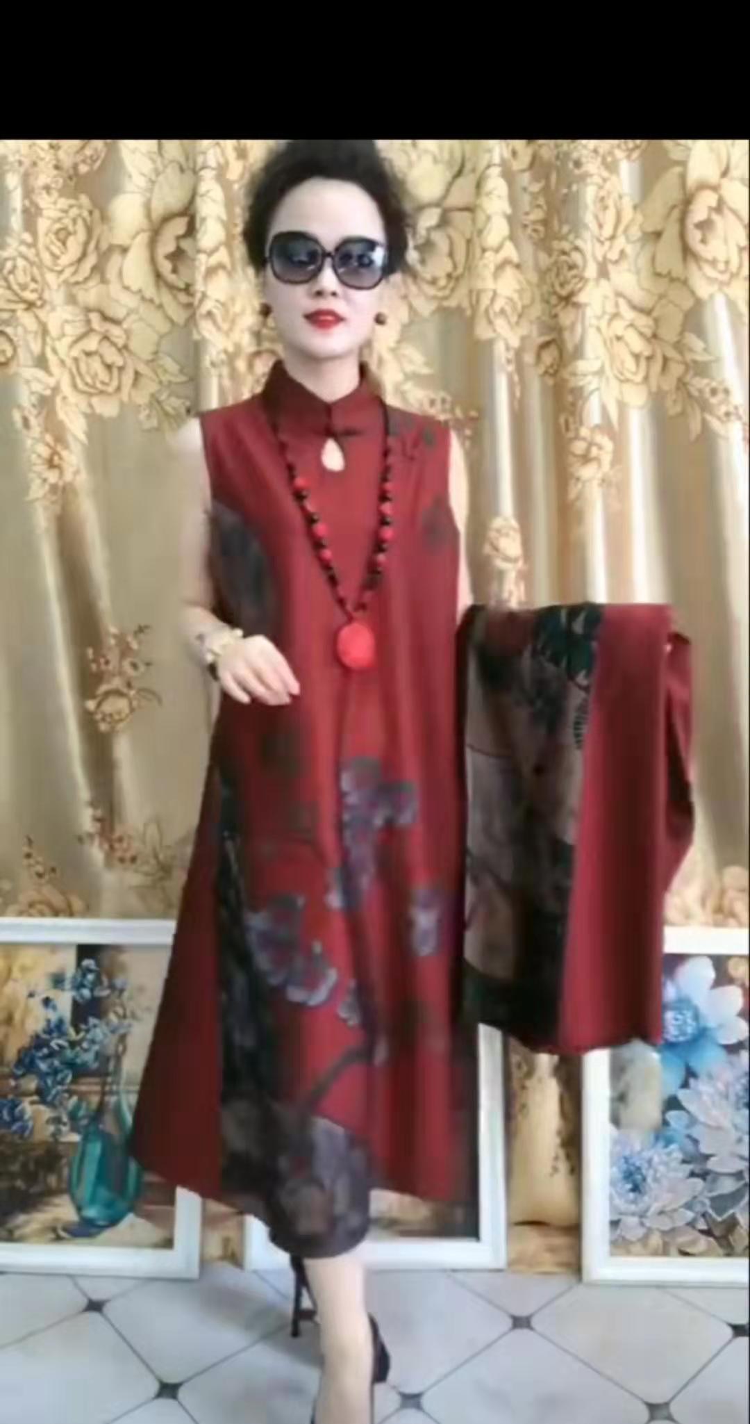 专柜2020春季网红精品时尚潮流贵妇人高端大气优雅不加绒旗袍裙两