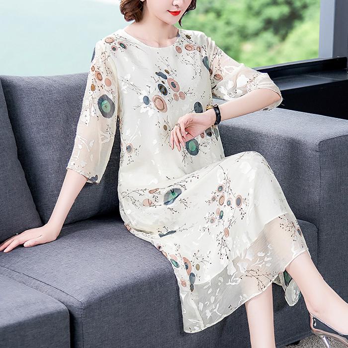 桑蚕丝连衣裙2020新款复古中国风优雅气质中长款七分袖绣花真丝裙