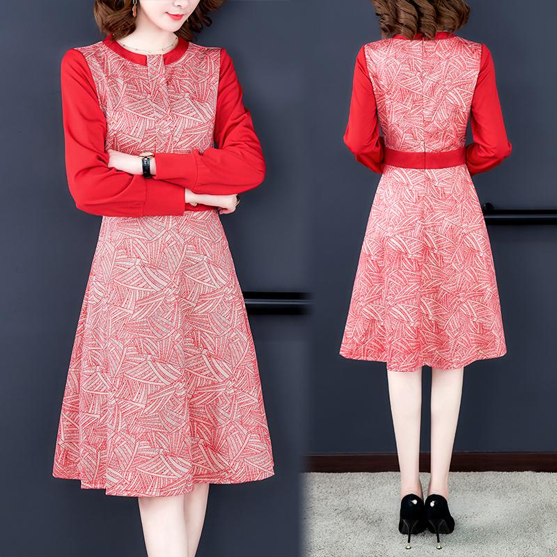 丹慕同款红色法式复古连衣裙女秋冬装2019年新款长袖显瘦打底裙子
