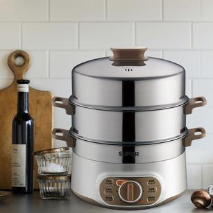 苏泊尔电蒸锅多功能家用蒸菜神器不锈钢大容量双层电蒸笼定时蒸锅
