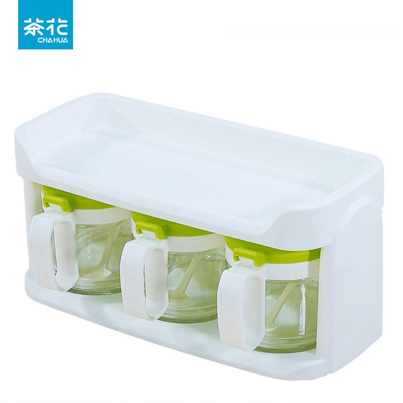 券后39.90元茶花玻璃套装双层家用厨房调味瓶罐
