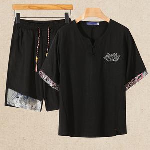 亚麻唐装大码男士短袖短裤套装中国风男套装 钱塘2026-TZ1570-P70,男装T恤,2026
