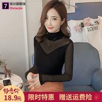 2021春秋装新款韩版高领纯色修身蕾丝衫大码长袖网纱打底衫女t恤
