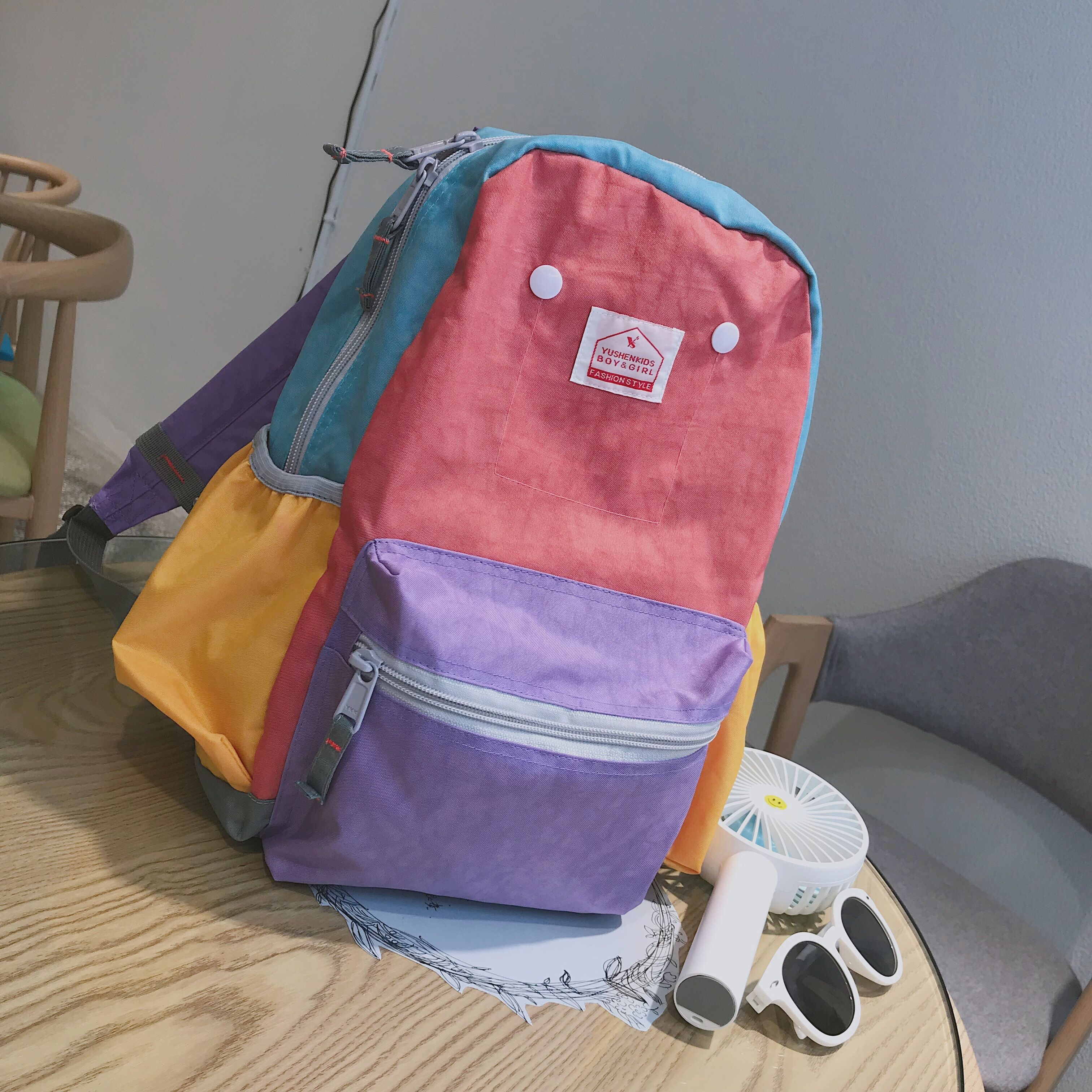 YUSHEN儿童背包潮双肩包外出旅游轻便男孩女孩韩版防水幼儿园书包限1000张券