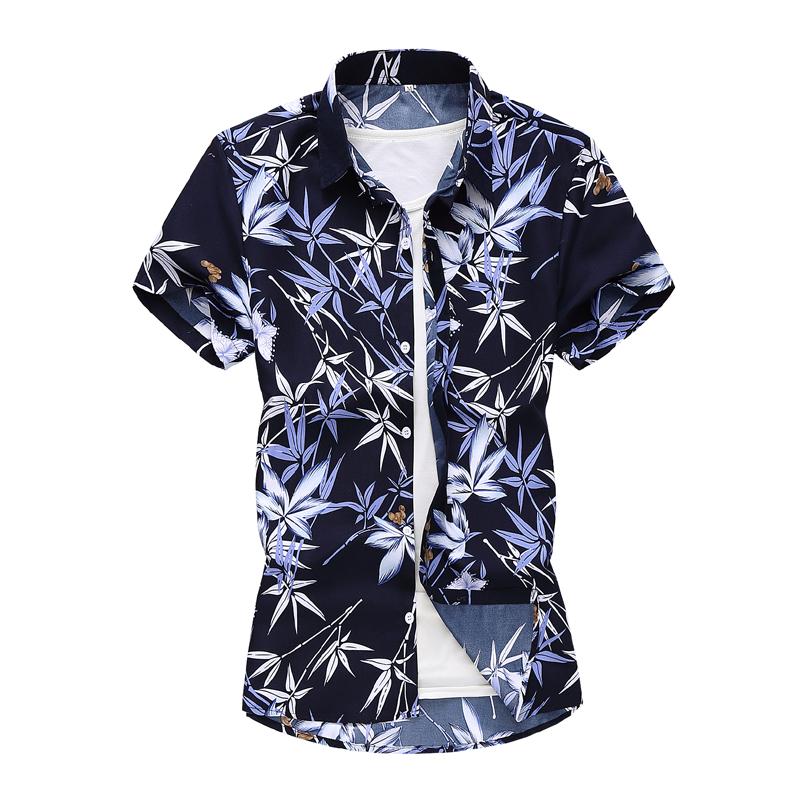 2021速卖通WISH外贸花衬衣男新品时尚休闲印花短袖衬衫 C1009/P25