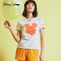 迪士尼李宁联名短袖女士旗舰官方夏季印花T恤休闲潮流上衣运动服