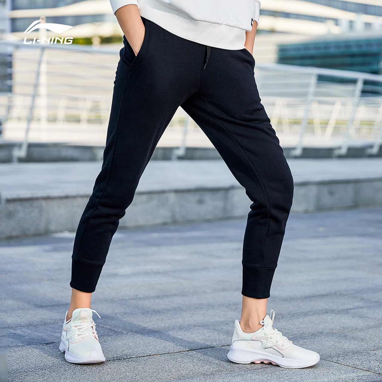 Li ningwei pants official authentic new training series pants women's small leg knitting sports casual pants