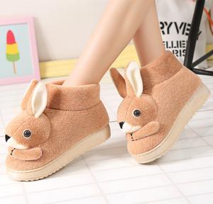 冬天棉拖鞋女鞋子毛毛拖鞋包跟月子棉鞋可爱兔兔厚底防滑家居大童