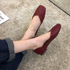 单鞋女平底2020软底豆豆春款女鞋复古百搭浅口仙女红色奶奶鞋夏季图片