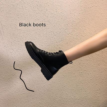 马丁靴女英伦风2019年新款秋季网红秋款短靴秋黑色加绒百搭靴子冬