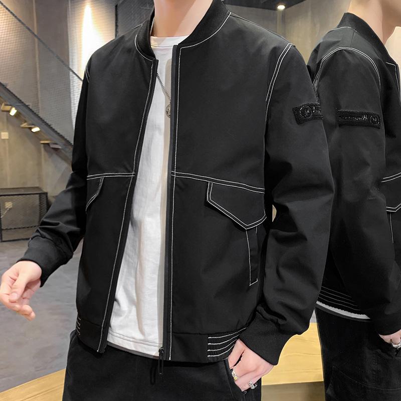 2020春季新款日系大口袋原创大码男纯色棒球领休闲夹克外套