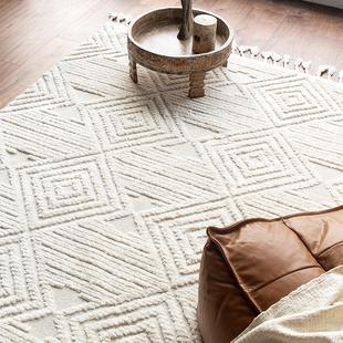 现代简约菱格线条摩洛哥北欧地毯柔软简约客厅卧室地毯