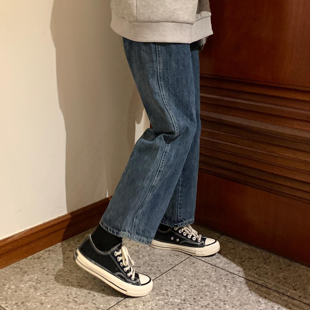 馨帮帮Sinbounboun自制 韩版学生宽松直筒深蓝色工装水洗牛仔裤女