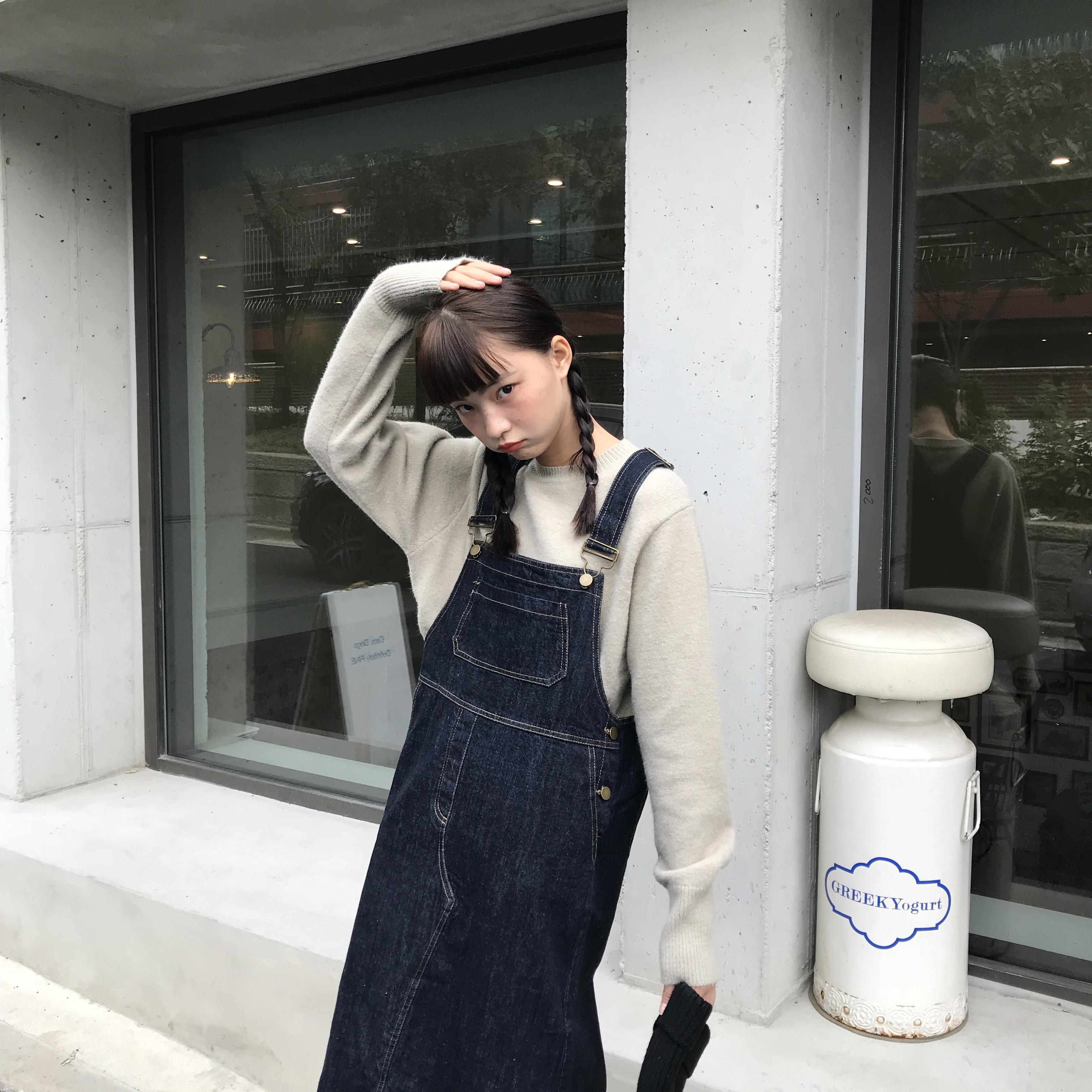 馨帮帮秋季新款宽松蓝色牛仔连衣裙12-01新券