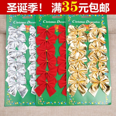 Christmas decorations gold red bow christmas tree small pendant ornament gifts 12 pack clearance