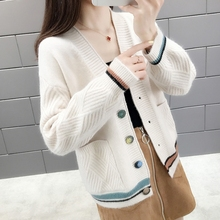 Autumn winter knitted cardigan, autumn sweater, women 2019 autumn and winter, new style color match, short net, infrared jacket.