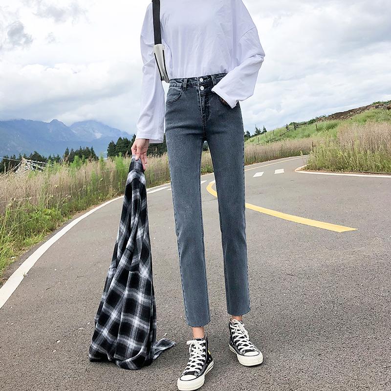 实拍牛仔裤女直筒裤宽松2020新款秋装高腰修身显高显瘦烟管九分裤