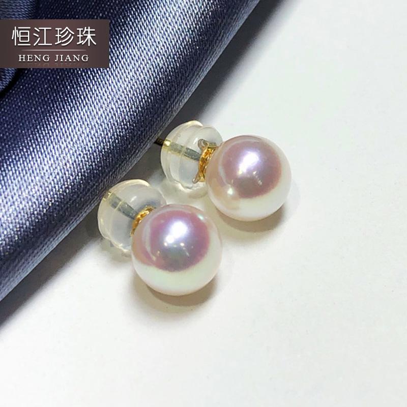 akoya海水珍珠日本白色耳釘18K黃金正圓強光耳環耳飾天然花珠天女