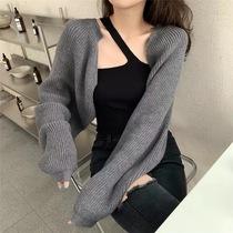 慵懒风宽松短款灯笼袖毛衣罩衫外套女装镂空防晒长袖针织衫上衣潮