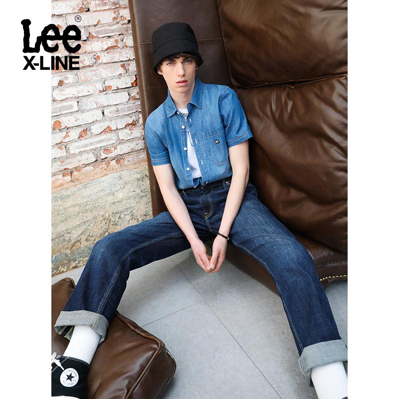 leexline深蓝色男726 2020直筒裤子
