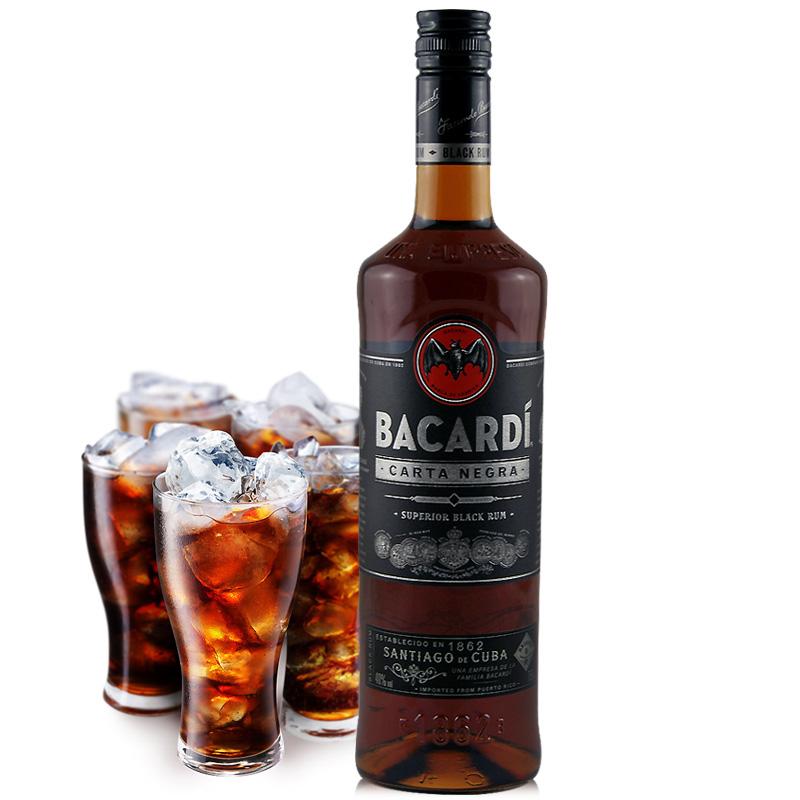 洋酒百加得黑朗姆酒BACARDI BLACK RUM波多黎各原瓶原�b�M口