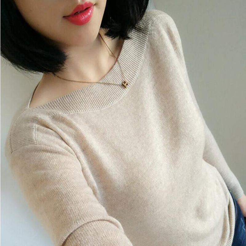 New style womens cashmere sweater with one-way collar and short Pullover Sweater